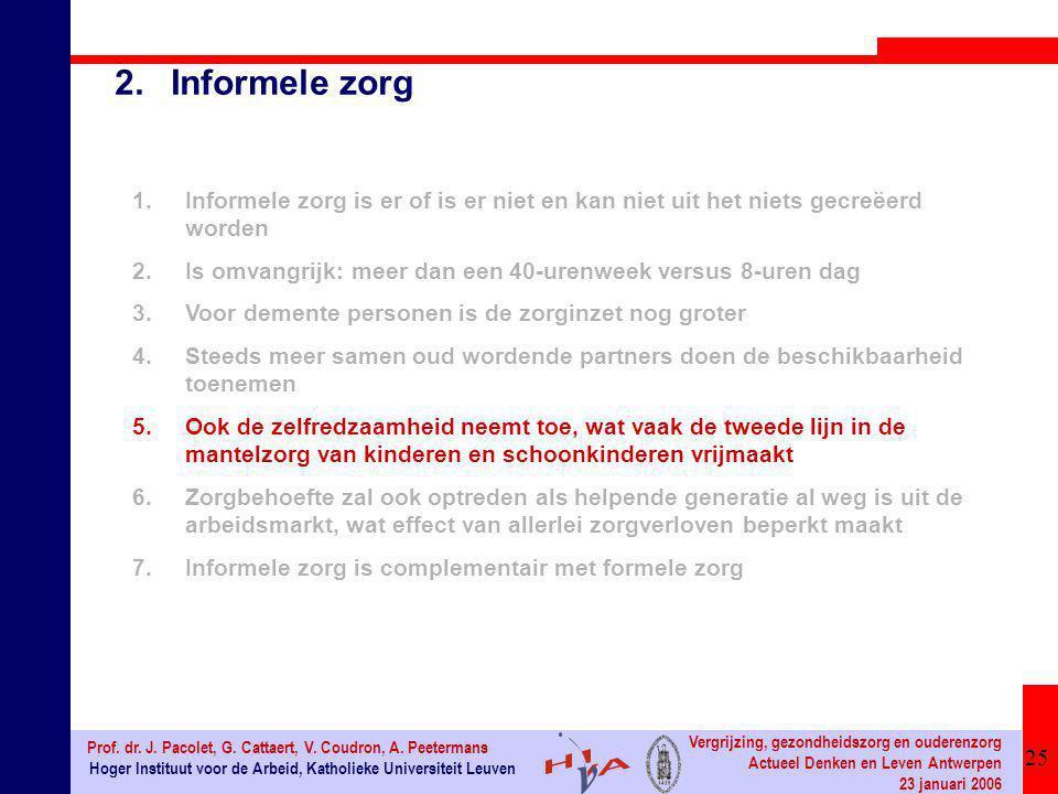 25 Hoger Instituut voor de Arbeid, Katholieke Universiteit Leuven Prof. dr. J. Pacolet, G. Cattaert, V. Coudron, A. Peetermans Vergrijzing, gezondheid