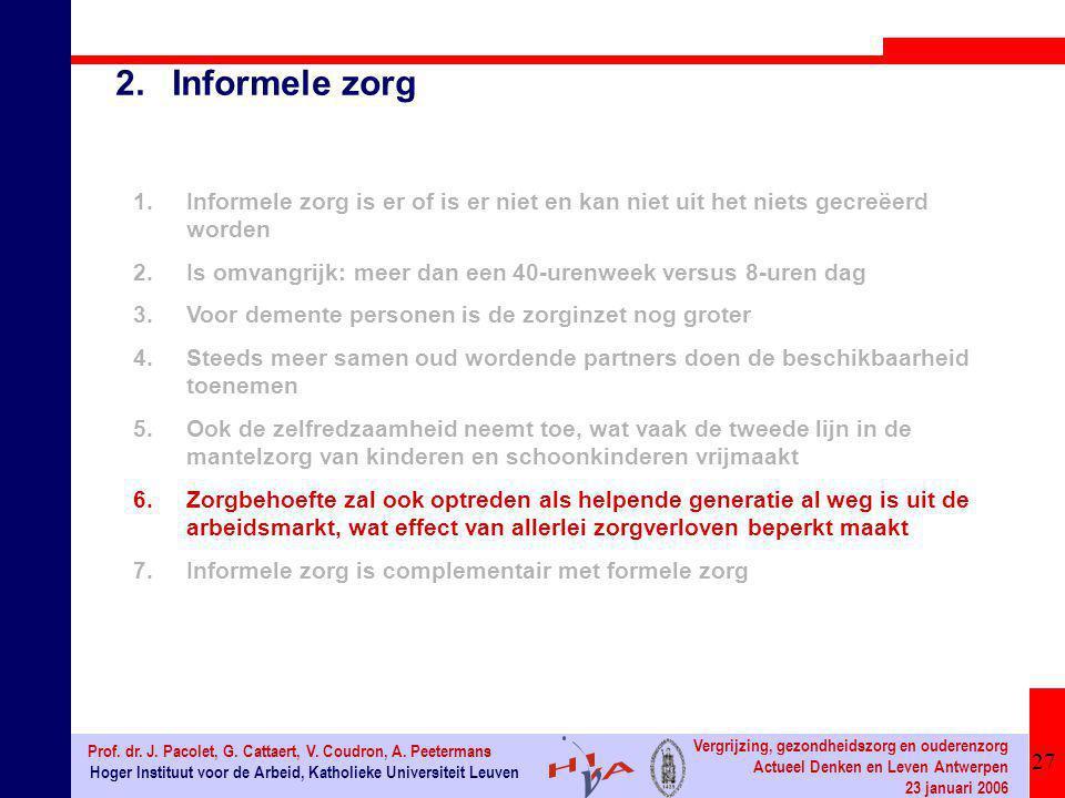 27 Hoger Instituut voor de Arbeid, Katholieke Universiteit Leuven Prof. dr. J. Pacolet, G. Cattaert, V. Coudron, A. Peetermans Vergrijzing, gezondheid