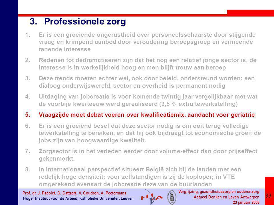 33 Hoger Instituut voor de Arbeid, Katholieke Universiteit Leuven Prof. dr. J. Pacolet, G. Cattaert, V. Coudron, A. Peetermans Vergrijzing, gezondheid