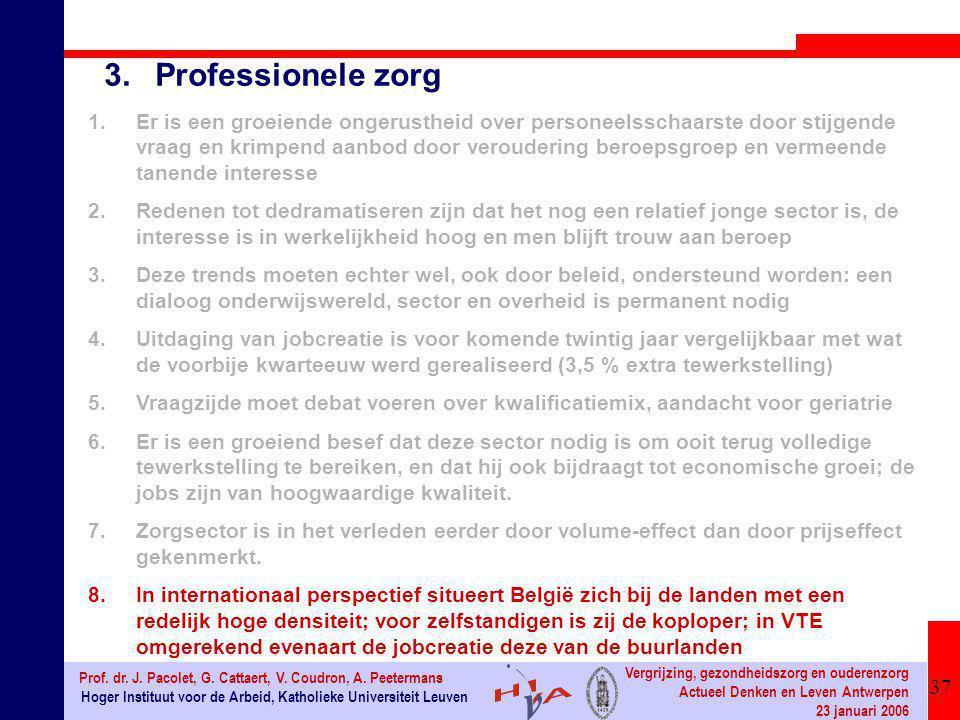 37 Hoger Instituut voor de Arbeid, Katholieke Universiteit Leuven Prof. dr. J. Pacolet, G. Cattaert, V. Coudron, A. Peetermans Vergrijzing, gezondheid