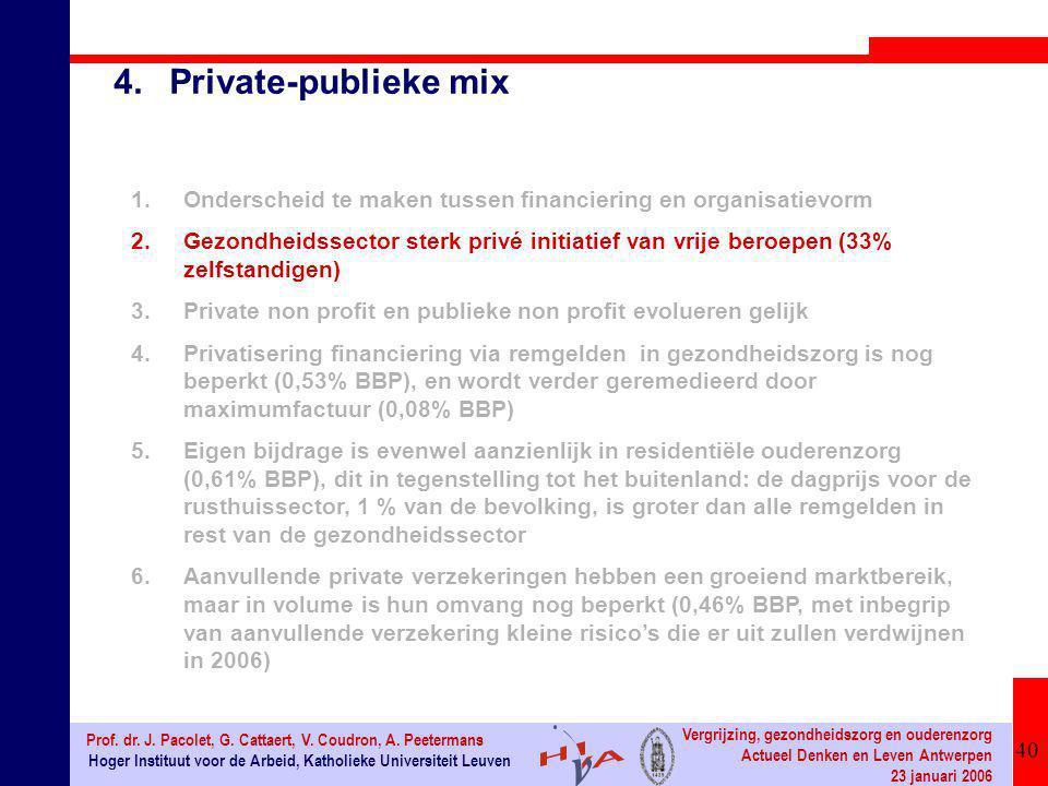 40 Hoger Instituut voor de Arbeid, Katholieke Universiteit Leuven Prof. dr. J. Pacolet, G. Cattaert, V. Coudron, A. Peetermans Vergrijzing, gezondheid