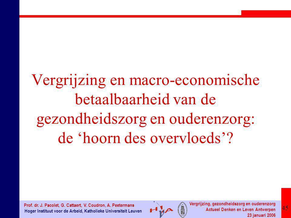 45 Hoger Instituut voor de Arbeid, Katholieke Universiteit Leuven Prof. dr. J. Pacolet, G. Cattaert, V. Coudron, A. Peetermans Vergrijzing, gezondheid