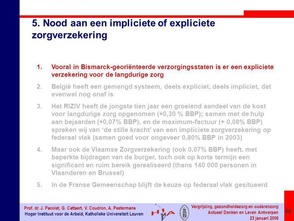 46 Hoger Instituut voor de Arbeid, Katholieke Universiteit Leuven Prof. dr. J. Pacolet, G. Cattaert, V. Coudron, A. Peetermans Vergrijzing, gezondheid