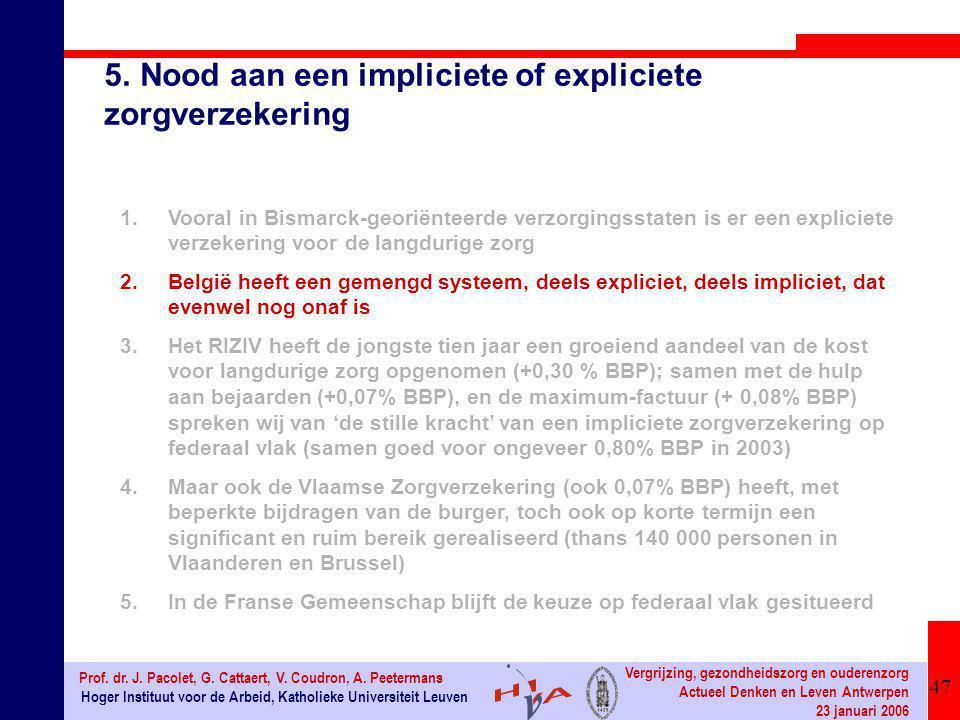 47 Hoger Instituut voor de Arbeid, Katholieke Universiteit Leuven Prof. dr. J. Pacolet, G. Cattaert, V. Coudron, A. Peetermans Vergrijzing, gezondheid