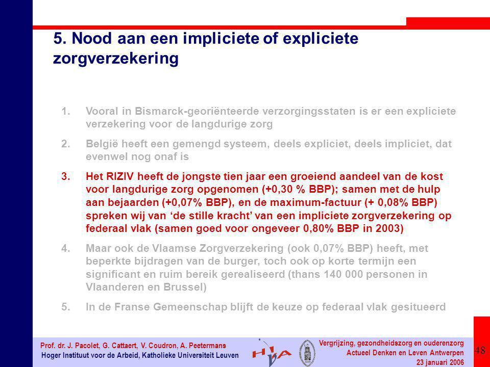 48 Hoger Instituut voor de Arbeid, Katholieke Universiteit Leuven Prof. dr. J. Pacolet, G. Cattaert, V. Coudron, A. Peetermans Vergrijzing, gezondheid