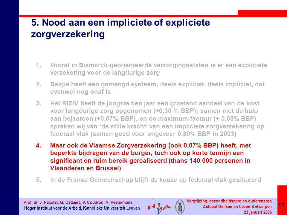 52 Hoger Instituut voor de Arbeid, Katholieke Universiteit Leuven Prof. dr. J. Pacolet, G. Cattaert, V. Coudron, A. Peetermans Vergrijzing, gezondheid