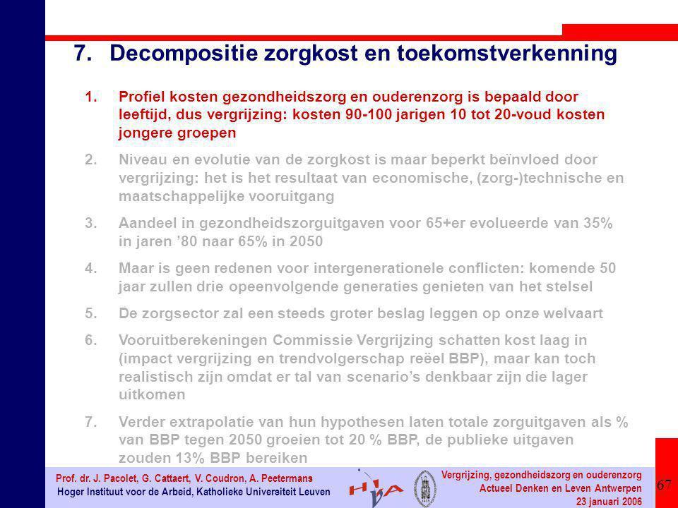 67 Hoger Instituut voor de Arbeid, Katholieke Universiteit Leuven Prof. dr. J. Pacolet, G. Cattaert, V. Coudron, A. Peetermans Vergrijzing, gezondheid