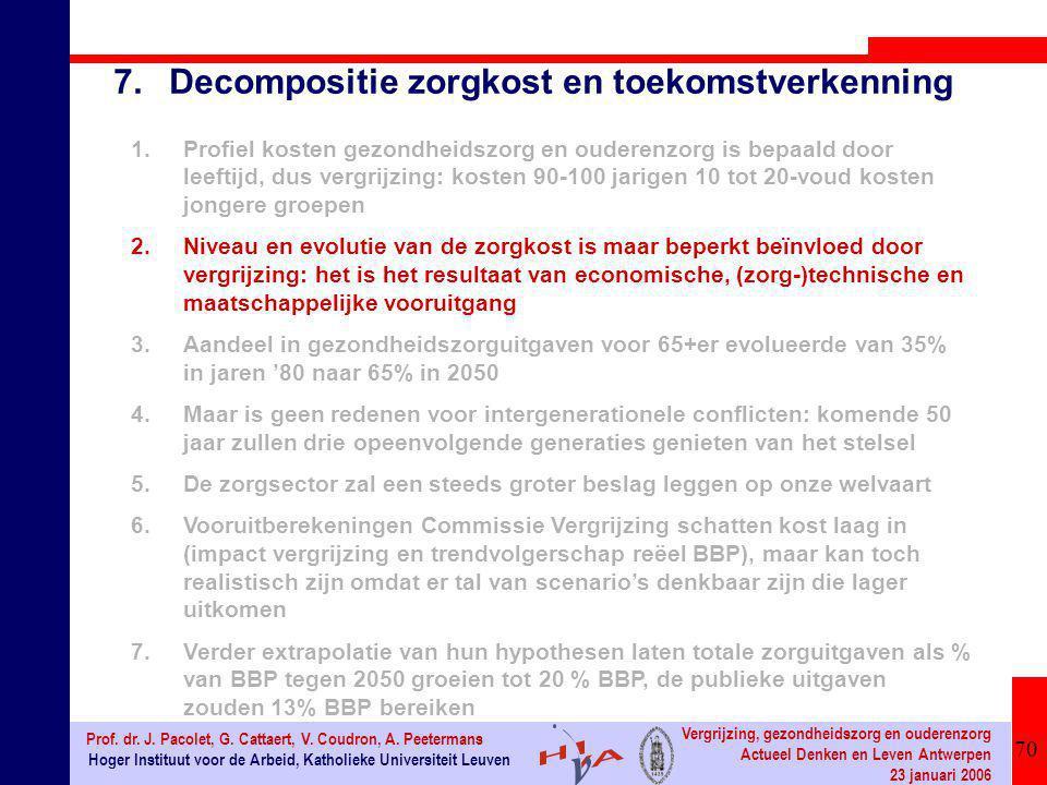 70 Hoger Instituut voor de Arbeid, Katholieke Universiteit Leuven Prof. dr. J. Pacolet, G. Cattaert, V. Coudron, A. Peetermans Vergrijzing, gezondheid