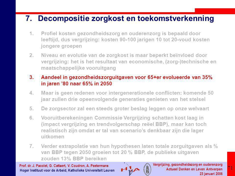 71 Hoger Instituut voor de Arbeid, Katholieke Universiteit Leuven Prof. dr. J. Pacolet, G. Cattaert, V. Coudron, A. Peetermans Vergrijzing, gezondheid