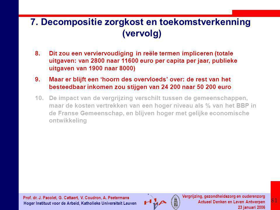 81 Hoger Instituut voor de Arbeid, Katholieke Universiteit Leuven Prof. dr. J. Pacolet, G. Cattaert, V. Coudron, A. Peetermans Vergrijzing, gezondheid