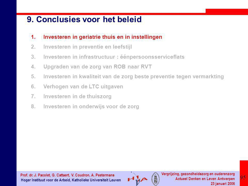 95 Hoger Instituut voor de Arbeid, Katholieke Universiteit Leuven Prof. dr. J. Pacolet, G. Cattaert, V. Coudron, A. Peetermans Vergrijzing, gezondheid