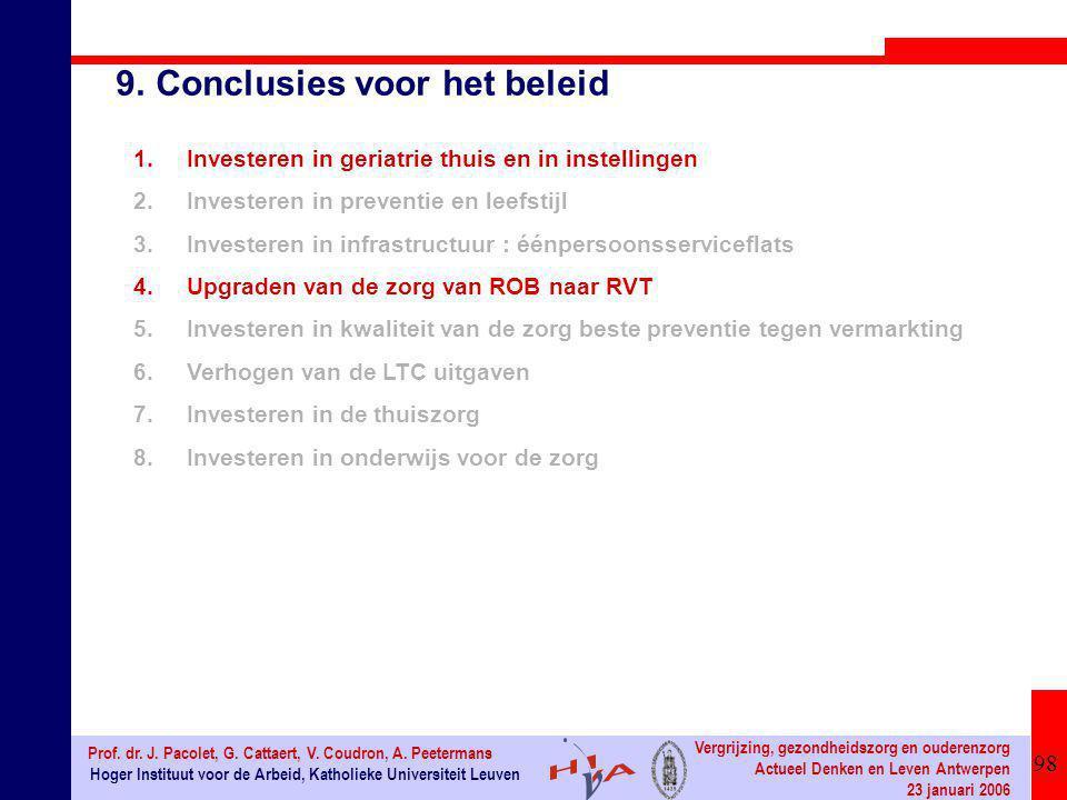 98 Hoger Instituut voor de Arbeid, Katholieke Universiteit Leuven Prof. dr. J. Pacolet, G. Cattaert, V. Coudron, A. Peetermans Vergrijzing, gezondheid