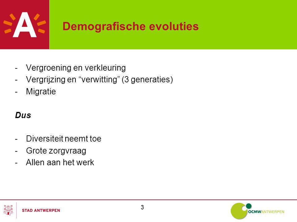 3 Demografische evoluties -Vergroening en verkleuring -Vergrijzing en verwitting (3 generaties) -Migratie Dus -Diversiteit neemt toe -Grote zorgvraag -Allen aan het werk