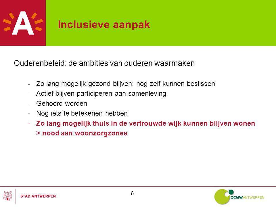 7 Ouderenzorgbeleid Zorgstrategische visie op Antwerps niveau: -Op basis van een gezamenlijk gedragen visie ( Ouderen écht van Tel ) -Antwerpen onderverdeeld in 31 wijken -Streven naar levensloopbestendige wijken met voldoende voorzieningen -Elke wijk minstens één lokaal dienstencentrum -Een continuüm van woon-zorgvormen op maat in alle wijken ( nachtopvang, centrum voor dagopvangcentrum, centrum voor kortverblijf, thuiszorg, enz.) -Op basis van huidig aanbod bepalen van prioritaire wijken