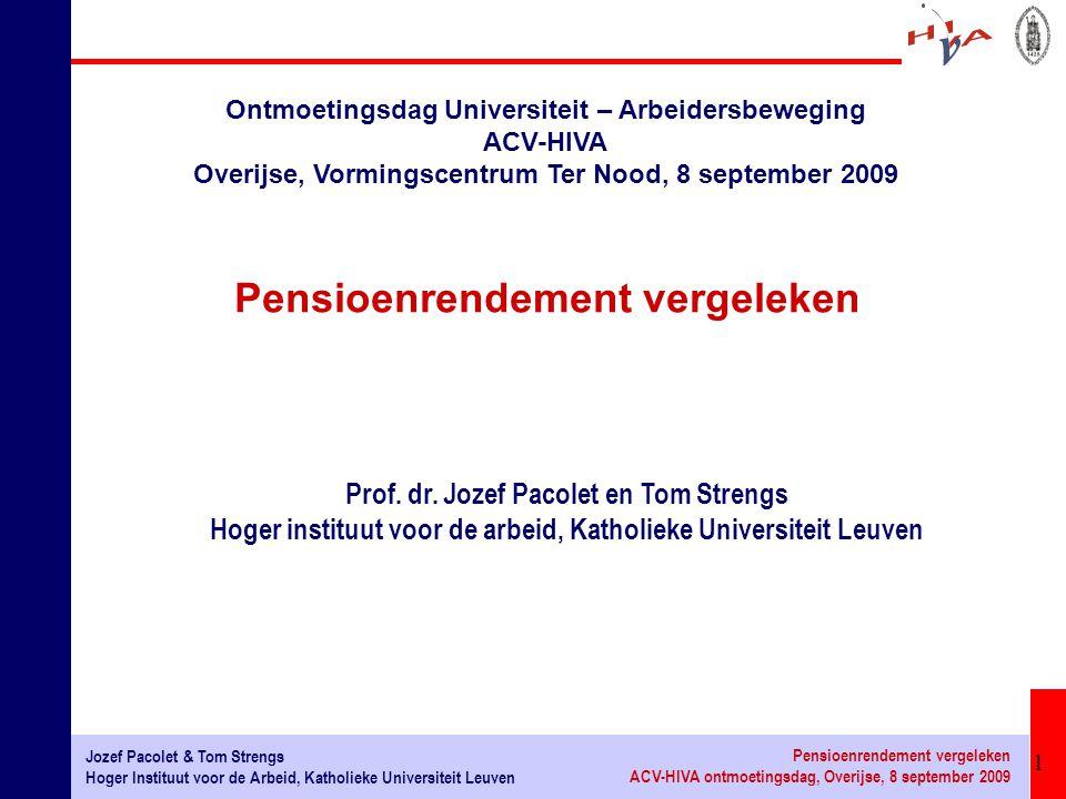 32 Jozef Pacolet & Tom Strengs Hoger Instituut voor de Arbeid, Katholieke Universiteit Leuven Pensioenrendement vergeleken ACV-HIVA ontmoetingsdag, Overijse, 8 september 2009 1.Versterken van de eerste pijler: eerste pijler is niet enkel voor armoedebestrijding ('Beveridge type') maar ook om consumptiepatroon te effenen ('consumption smoothing') over de levenscyslus ('Bismarck type') 2.Aanvullende pensioenen moeten aanvullend zijn: risico dat eerste pijler herleid wordt tot residuair systeem 3.Een repartitiesysteem is beter geschikt om macro-economische risico's (economische crisis, inflatie) te spreiden over verschillende generaties 4.Èlk pensioenstelsel heeft nood aan een debat omtrent flexibiliteit in het licht van een veranderende economische en demografische omgeving: nood aan een debat omtrent verhoging van de arbeidsmarktparticipatie (zeker bij oudere werknemers).