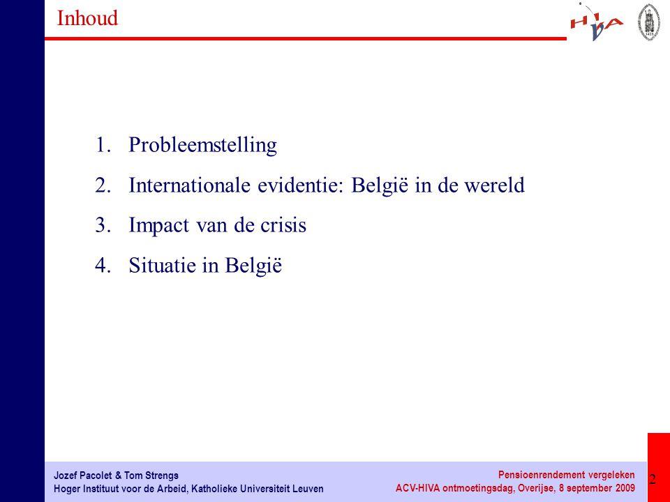 3 Jozef Pacolet & Tom Strengs Hoger Instituut voor de Arbeid, Katholieke Universiteit Leuven Pensioenrendement vergeleken ACV-HIVA ontmoetingsdag, Overijse, 8 september 2009 1.