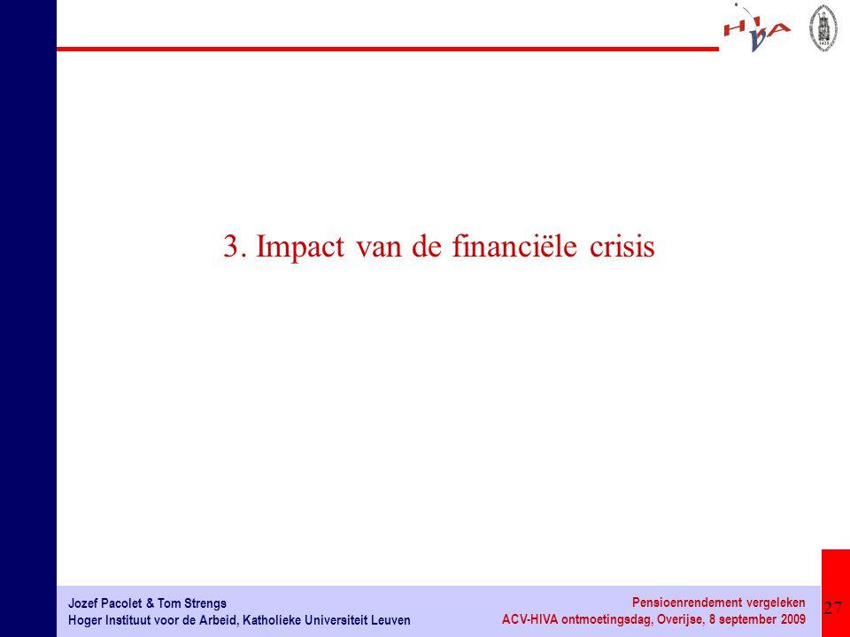 27 Jozef Pacolet & Tom Strengs Hoger Instituut voor de Arbeid, Katholieke Universiteit Leuven Pensioenrendement vergeleken ACV-HIVA ontmoetingsdag, Ov