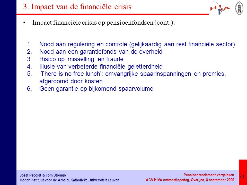 31 Jozef Pacolet & Tom Strengs Hoger Instituut voor de Arbeid, Katholieke Universiteit Leuven Pensioenrendement vergeleken ACV-HIVA ontmoetingsdag, Ov