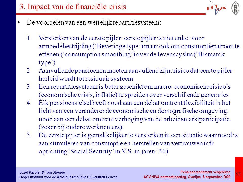 32 Jozef Pacolet & Tom Strengs Hoger Instituut voor de Arbeid, Katholieke Universiteit Leuven Pensioenrendement vergeleken ACV-HIVA ontmoetingsdag, Ov