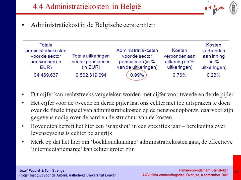 46 Jozef Pacolet & Tom Strengs Hoger Instituut voor de Arbeid, Katholieke Universiteit Leuven Pensioenrendement vergeleken ACV-HIVA ontmoetingsdag, Ov