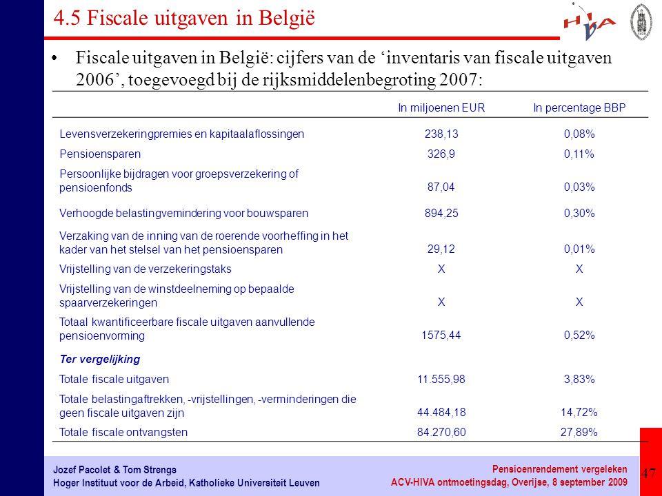 47 Jozef Pacolet & Tom Strengs Hoger Instituut voor de Arbeid, Katholieke Universiteit Leuven Pensioenrendement vergeleken ACV-HIVA ontmoetingsdag, Ov