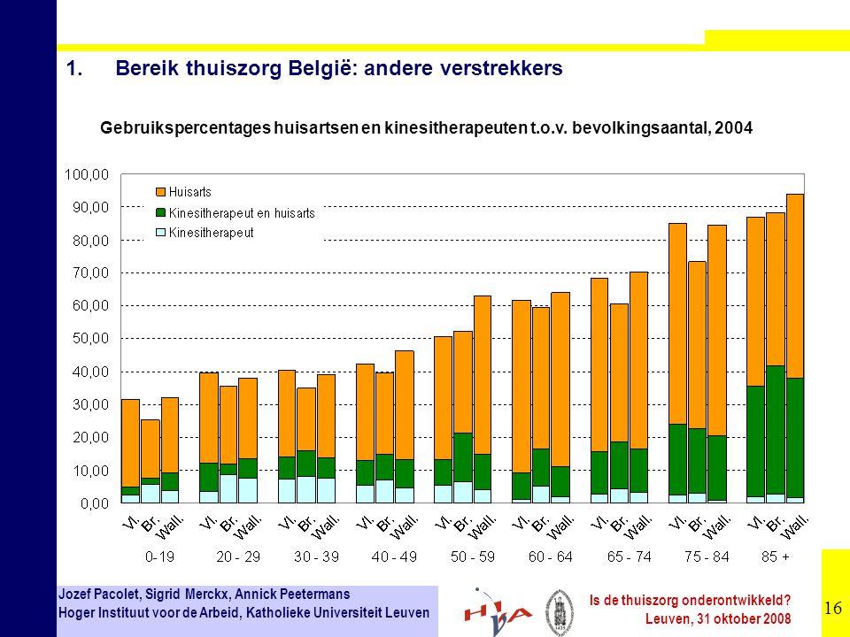 16 Jozef Pacolet, Sigrid Merckx, Annick Peetermans Hoger Instituut voor de Arbeid, Katholieke Universiteit Leuven Is de thuiszorg onderontwikkeld? Leu