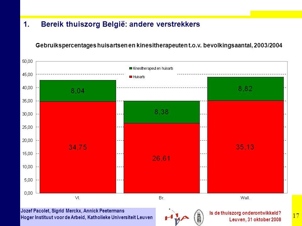 17 Jozef Pacolet, Sigrid Merckx, Annick Peetermans Hoger Instituut voor de Arbeid, Katholieke Universiteit Leuven Is de thuiszorg onderontwikkeld? Leu