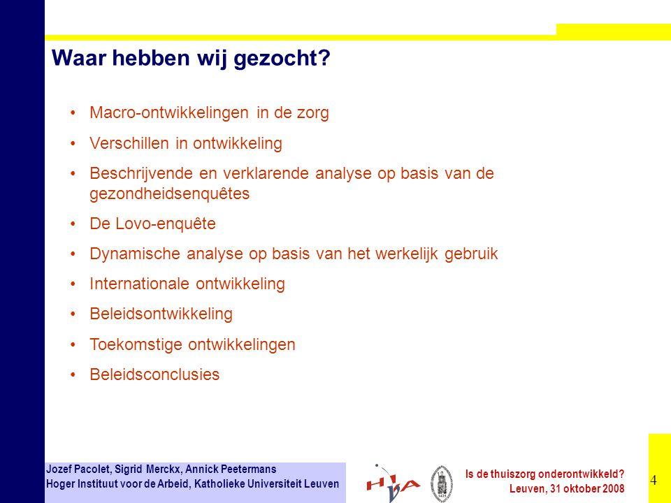 5 Jozef Pacolet, Sigrid Merckx, Annick Peetermans Hoger Instituut voor de Arbeid, Katholieke Universiteit Leuven Is de thuiszorg onderontwikkeld.