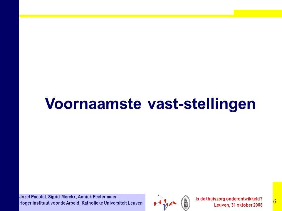 27 Jozef Pacolet, Sigrid Merckx, Annick Peetermans Hoger Instituut voor de Arbeid, Katholieke Universiteit Leuven Is de thuiszorg onderontwikkeld.