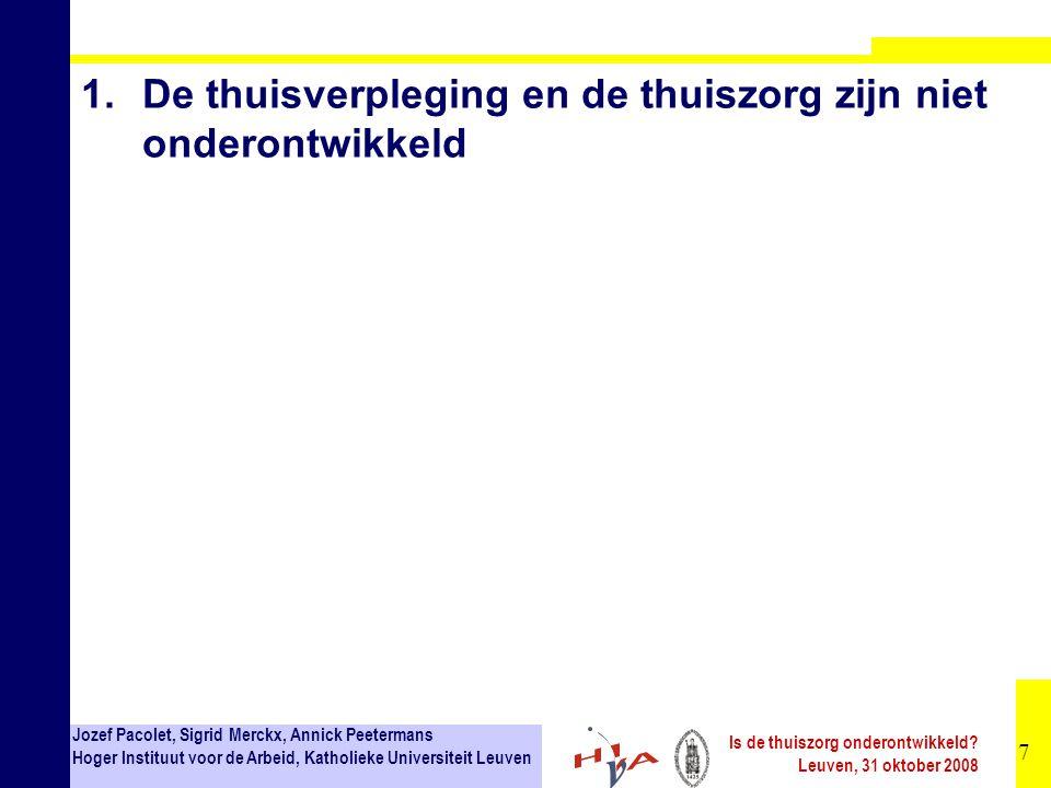 28 Jozef Pacolet, Sigrid Merckx, Annick Peetermans Hoger Instituut voor de Arbeid, Katholieke Universiteit Leuven Is de thuiszorg onderontwikkeld.