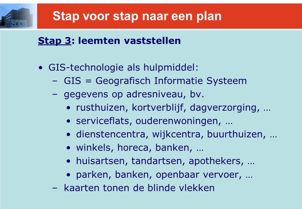 Stap voor stap naar een plan Stap 3: leemten vaststellen GIS-technologie als hulpmiddel: – GIS = Geografisch Informatie Systeem – gegevens op adresniveau, bv.