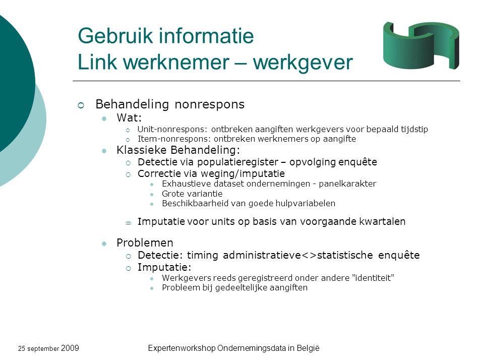 25 september 2009Expertenworkshop Ondernemingsdata in België Gebruik informatie Link werknemer – werkgever  Behandeling nonrespons Wat:  Unit-nonres