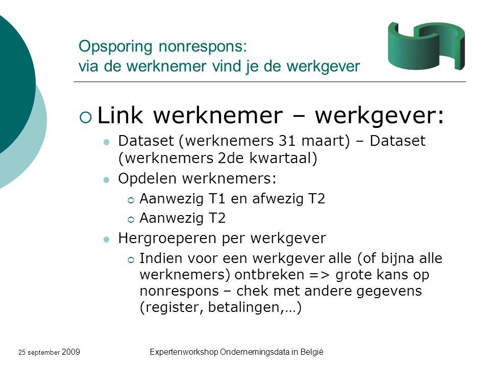 25 september 2009Expertenworkshop Ondernemingsdata in België Opsporing nonrespons: via de werknemer vind je de werkgever  Link werknemer – werkgever:
