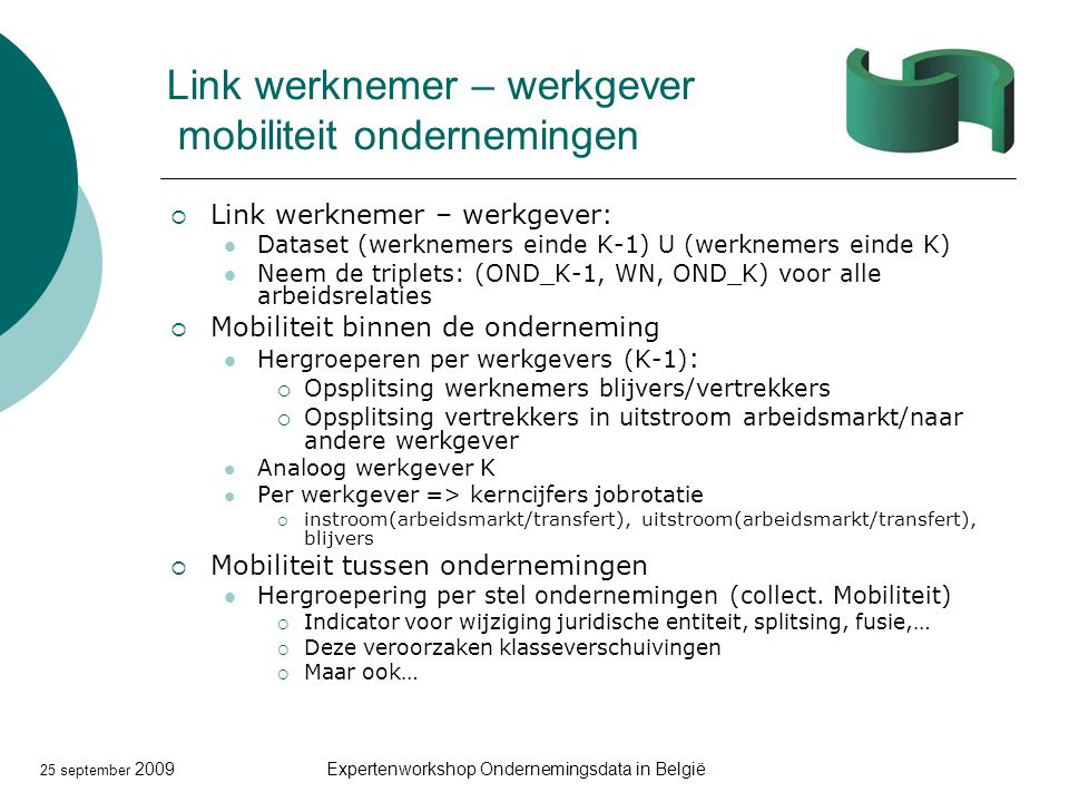25 september 2009Expertenworkshop Ondernemingsdata in België Link werknemer – werkgever mobiliteit ondernemingen  Link werknemer – werkgever: Dataset (werknemers einde K-1) U (werknemers einde K) Neem de triplets: (OND_K-1, WN, OND_K) voor alle arbeidsrelaties  Mobiliteit binnen de onderneming Hergroeperen per werkgevers (K-1) :  Opsplitsing werknemers blijvers/vertrekkers  Opsplitsing vertrekkers in uitstroom arbeidsmarkt/naar andere werkgever Analoog werkgever K Per werkgever => kerncijfers jobrotatie  instroom(arbeidsmarkt/transfert), uitstroom(arbeidsmarkt/transfert), blijvers  Mobiliteit tussen ondernemingen Hergroepering per stel ondernemingen (collect.