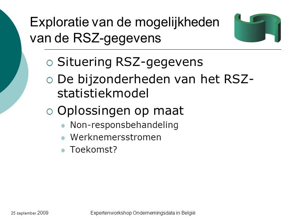 25 september 2009Expertenworkshop Ondernemingsdata in België Exploratie van de mogelijkheden van de RSZ-gegevens  Situering RSZ-gegevens  De bijzonderheden van het RSZ- statistiekmodel  Oplossingen op maat Non-responsbehandeling Werknemersstromen Toekomst?