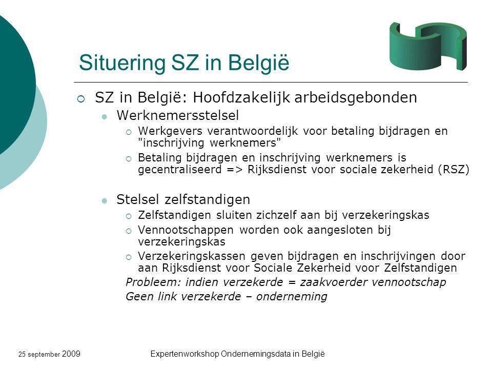 25 september 2009Expertenworkshop Ondernemingsdata in België Situering SZ in België  SZ in België: Hoofdzakelijk arbeidsgebonden Werknemersstelsel 