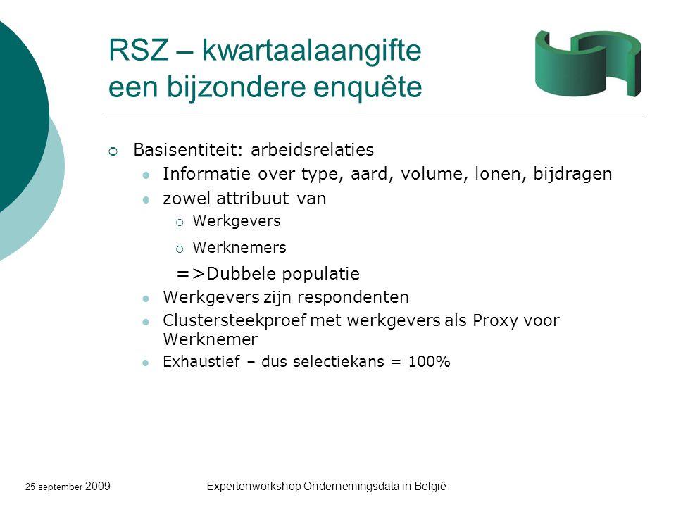 25 september 2009Expertenworkshop Ondernemingsdata in België RSZ – kwartaalaangifte een bijzondere enquête  Basisentiteit: arbeidsrelaties Informatie