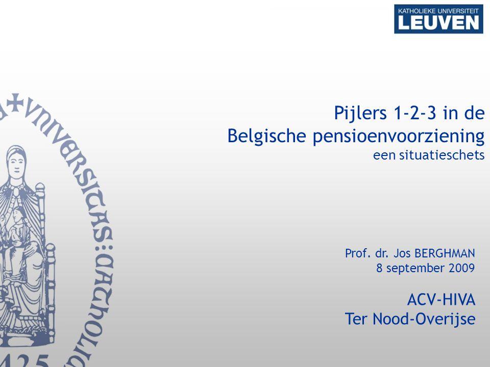 1 Pijlers 1-2-3 in de Belgische pensioenvoorziening een situatieschets Prof. dr. Jos BERGHMAN 8 september 2009 ACV-HIVA Ter Nood-Overijse