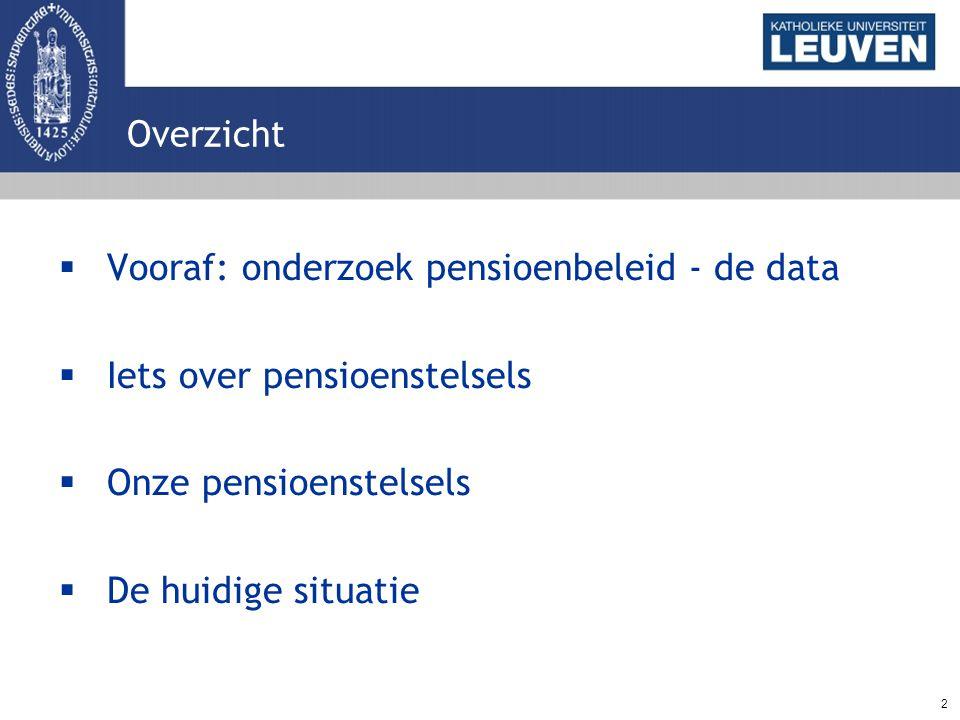3 Vooraf: de data  Pensioenkadaster: Grootste actuele pensioengegevensbank (RVP & RIZIV) Registratie pensioenuitkeringen 1ste & 2de pijler (NIET: 3de pijler)  Steekproef: gepensioneerden die in 2001-2004 een pensioen (1ste en/of 2de pijler) ontvingen  Volledige populatie gepensioneerden (2005-2007)  Koppeling administratieve gegevens (DWH AM&SB): gezins- en loopbaankenmerken
