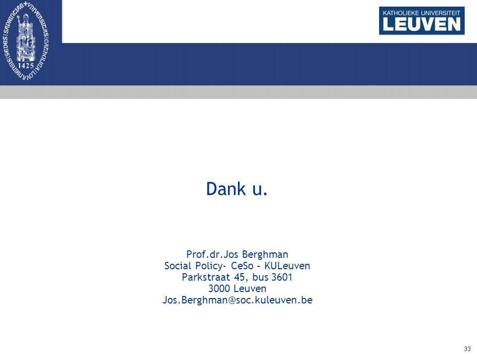 33 Dank u. Prof.dr.Jos Berghman Social Policy- CeSo – KULeuven Parkstraat 45, bus 3601 3000 Leuven Jos.Berghman@soc.kuleuven.be