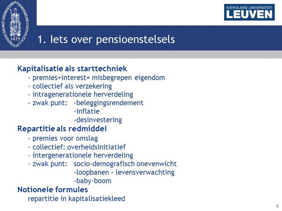 5 1. Iets over pensioenstelsels Kapitalisatie als starttechniek - premies+interest= misbegrepen eigendom - collectief als verzekering - intrageneratio