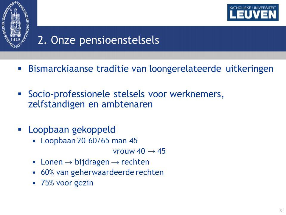 6 2. Onze pensioenstelsels  Bismarckiaanse traditie van loongerelateerde uitkeringen  Socio-professionele stelsels voor werknemers, zelfstandigen en