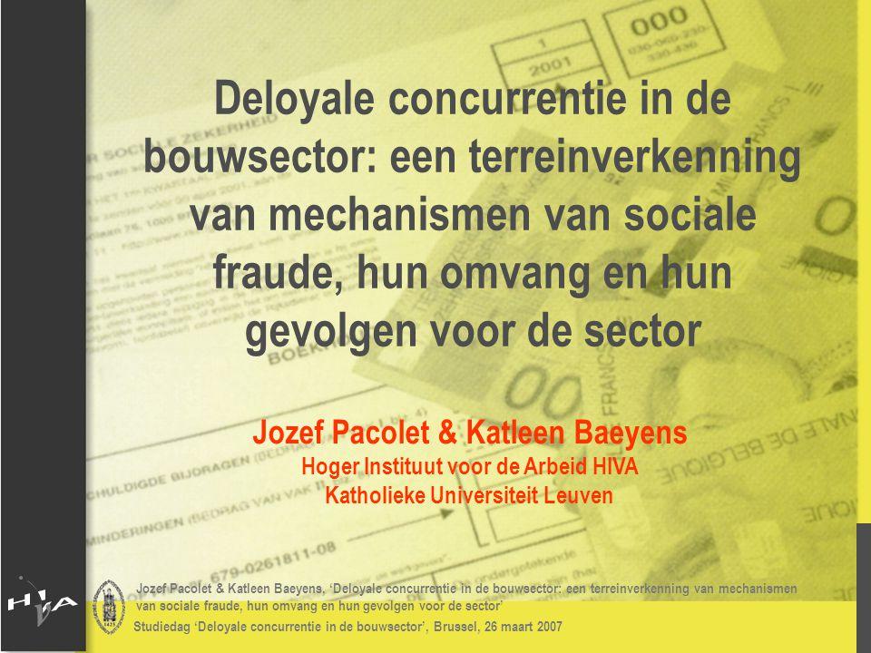 Jozef Pacolet & Katleen Baeyens, 'Deloyale concurrentie in de bouwsector: een terreinverkenning van mechanismen van sociale fraude, hun omvang en hun gevolgen voor de sector' Studiedag 'Deloyale concurrentie in de bouwsector', Brussel, 26 maart 2007 # Vormen deloyale concurrentie: Resultaten 2006: deloyale concurrentie