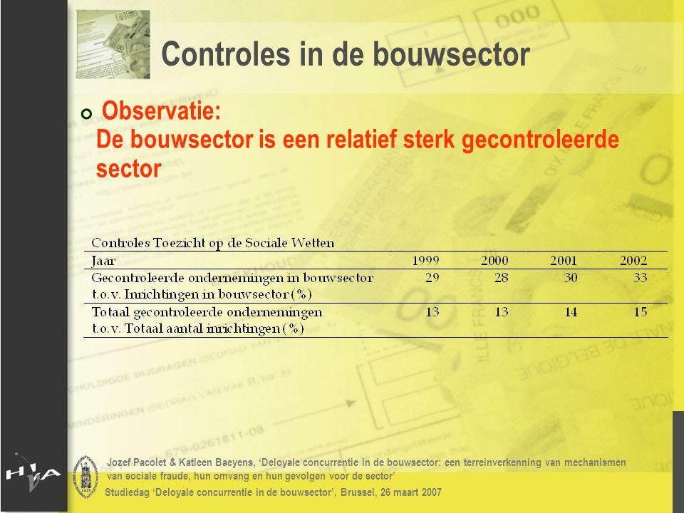 Jozef Pacolet & Katleen Baeyens, 'Deloyale concurrentie in de bouwsector: een terreinverkenning van mechanismen van sociale fraude, hun omvang en hun gevolgen voor de sector' Studiedag 'Deloyale concurrentie in de bouwsector', Brussel, 26 maart 2007 # Inzicht verschaffen in de (subjectieve) meningen omtrent het fenomeen bij personen werkzaam in de bouwsector # Additionele vragen toegevoegd aan: # Bestaande enquêtes: Vlaamse Confederatie Bouw & Bouwunie # Voor het eerst uitgevoerde enquête: Confédération Construction Wallonne Bevraging van de sector