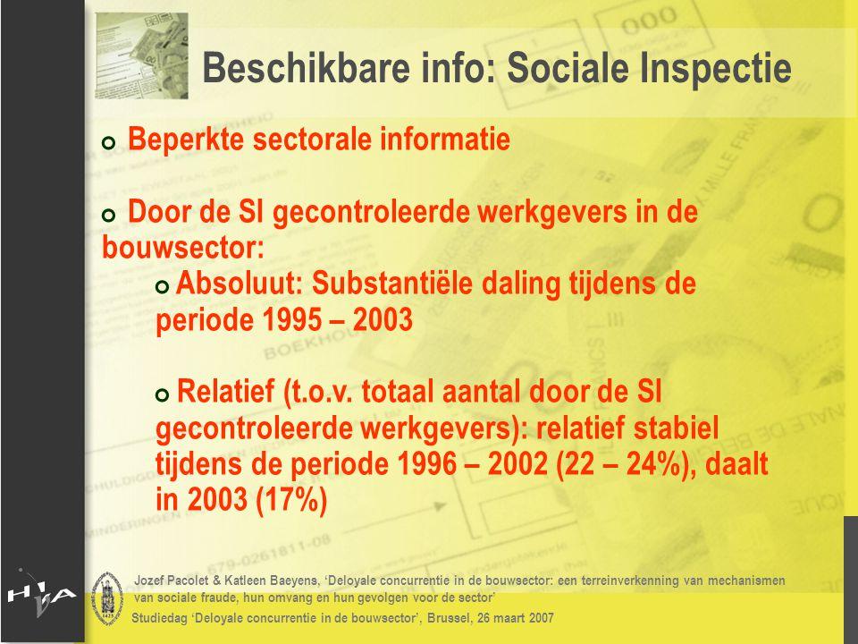 Jozef Pacolet & Katleen Baeyens, 'Deloyale concurrentie in de bouwsector: een terreinverkenning van mechanismen van sociale fraude, hun omvang en hun gevolgen voor de sector' Studiedag 'Deloyale concurrentie in de bouwsector', Brussel, 26 maart 2007 # Frequentie deloyale concurrentie: # Aanzienlijk % van de respondenten: grootte is geen determinant # In Vlaanderen denkt men iets meer dat het zelfstandigen zijn, in Wallonië iets meer dat het grote ondernemingen zijn Resultaten 2006: deloyale concurrentie