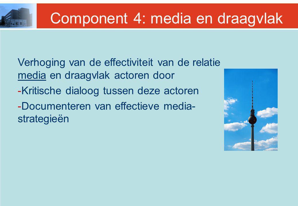 Component 4: media en draagvlak Verhoging van de effectiviteit van de relatie media en draagvlak actoren door -Kritische dialoog tussen deze actoren -Documenteren van effectieve media- strategieën