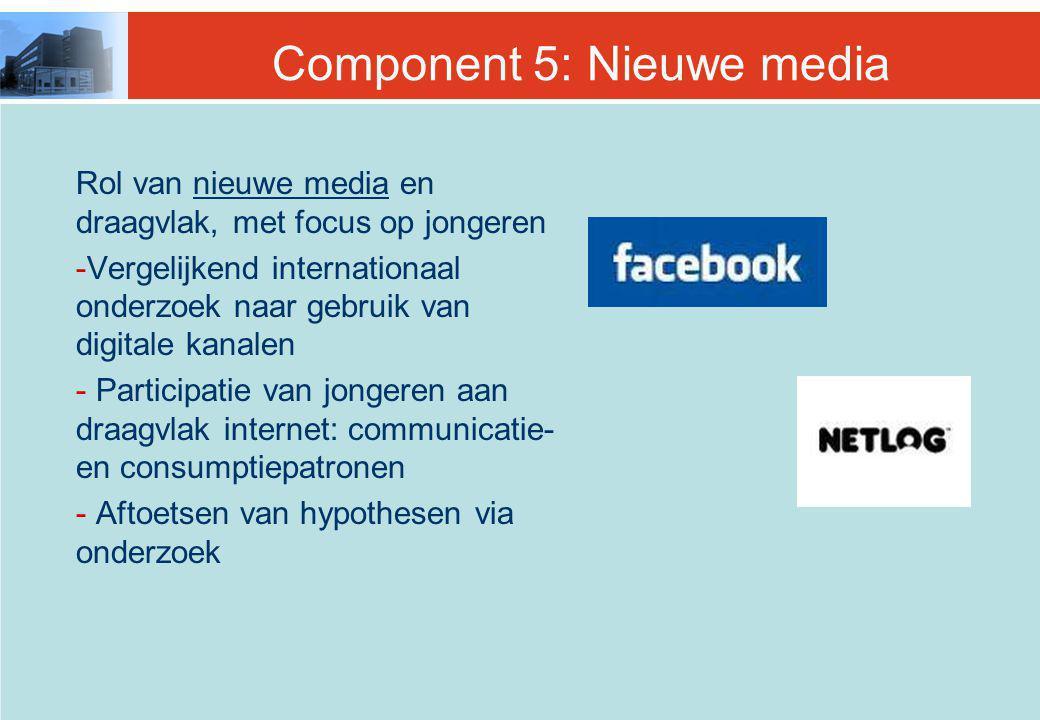 Component 5: Nieuwe media Rol van nieuwe media en draagvlak, met focus op jongeren -Vergelijkend internationaal onderzoek naar gebruik van digitale kanalen - Participatie van jongeren aan draagvlak internet: communicatie- en consumptiepatronen - Aftoetsen van hypothesen via onderzoek