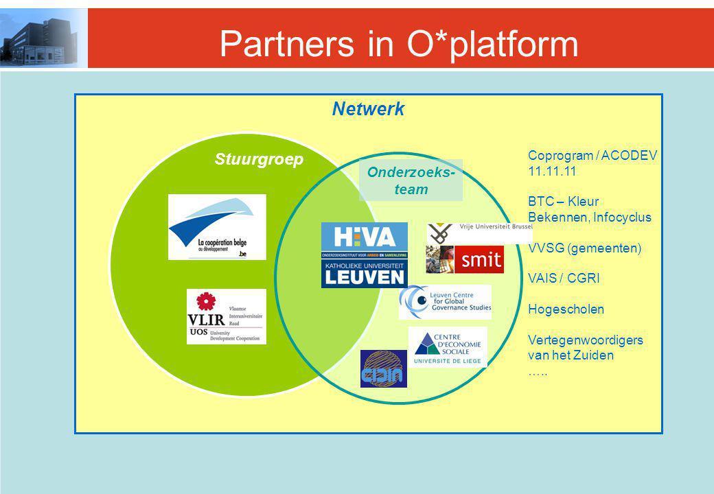 Partners in O*platform Netwerk Stuurgroep Onderzoeks- team Coprogram / ACODEV 11.11.11 BTC – Kleur Bekennen, Infocyclus VVSG (gemeenten) VAIS / CGRI Hogescholen Vertegenwoordigers van het Zuiden …..