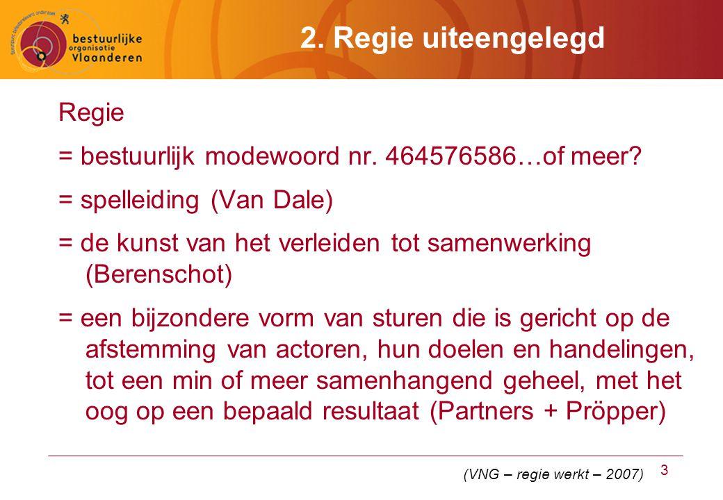 3 2. Regie uiteengelegd Regie = bestuurlijk modewoord nr.