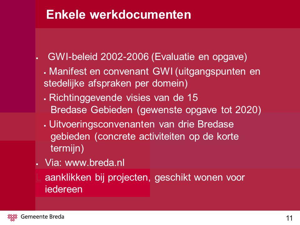 11 Enkele werkdocumenten  GWI-beleid 2002-2006 (Evaluatie en opgave)  Manifest en convenant GWI (uitgangspunten en stedelijke afspraken per domein)  Richtinggevende visies van de 15 Bredase Gebieden (gewenste opgave tot 2020)  Uitvoeringsconvenanten van drie Bredase gebieden (concrete activiteiten op de korte termijn)  Via: www.breda.nl LLaanklikken bij projecten, geschikt wonen voor iedereen